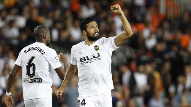 Valencia's defender Ezequiel Garay opened the scoring for Valencia in the 2nd minute with Barcelona
