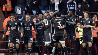 Leicester made it eight wins in a row and kept pressure on Liverpool by beating Aston Villa