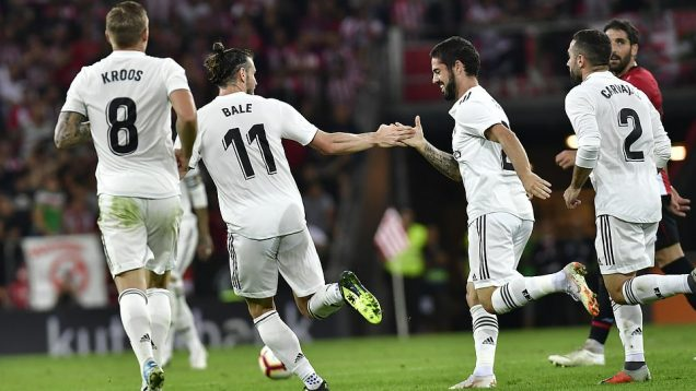 Isco Alarcon, Gareth Bale celebrate after getting an equaliser against Bilbao on Sunday in La Liga